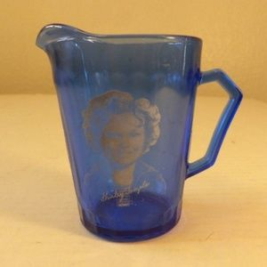 Shirley Temple Milk Cream Pitcher Jar Blue Vtg 30s
